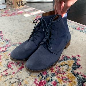 Lucky Brand blue lace-up suede boots